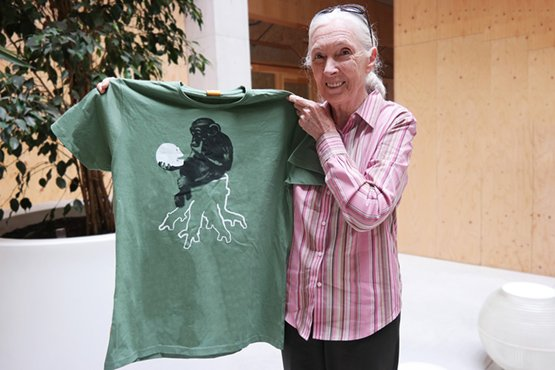 Jane Goodall with Chimpshirt